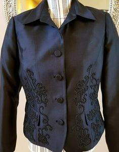 Dana Buchman 100% Silk Black Embellished Blazer
